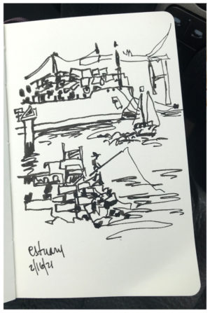 Sketch of estuary by Emily Weil