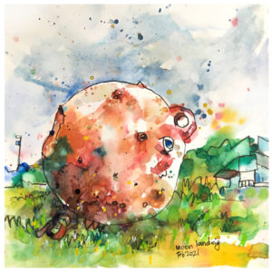 Watercolor painting of shipping float by Emily Weil
