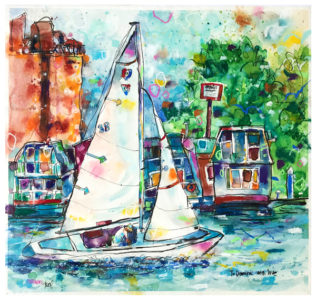 watercolor and pastel painting of sailboat by emily weil