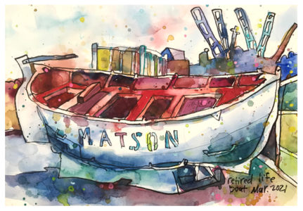 watercolor painting of lifeboat by emily weil