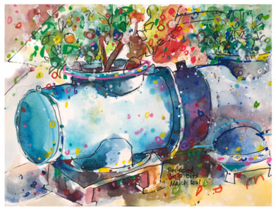watercolor by emily weil of shipping parts made into flower pots
