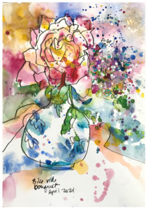 watercolor painting of bouquet by emily weil