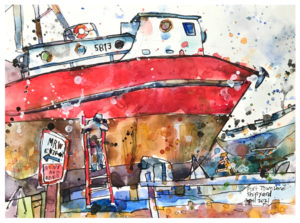 watercolor painting of shipyard by emily weil
