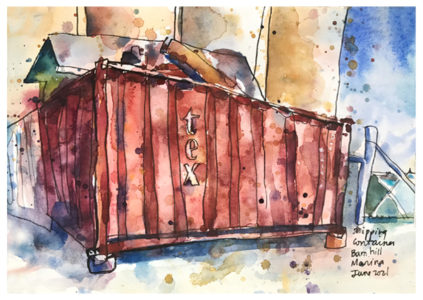 watercolor painting of shipping container by emily weil