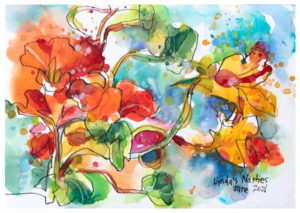 watercolor painting of nasturtiums by emily weil